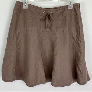 Athleta Daydream 100% Linen Skirt Brown